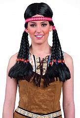 Indian Makawee mit Stirnband Damenperücke Indianerin Squawperücke Fasc