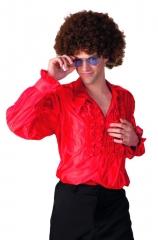 Rüschenhemd Partyhemd rot 70er 80er Jahre Hemd Retrohemd Mottoparty