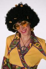 Hippie Flower Perücke Hippieperücke 70er Jahre Afroperücke Fasching