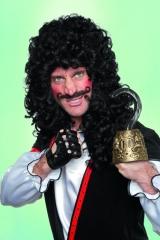 Kaptain H. mit Schnurrbart und Kinnbart Herrenperücke Faschingsperücke