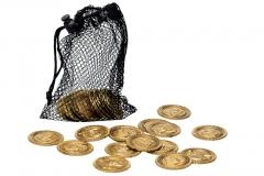 Piratenmünzen im Beutel 30 Stück Goldmünzen Goldschatz Pirat Seeräuber
