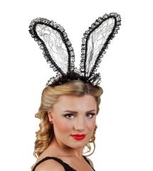 Kopfbügel mit Hasenohren aus Spitze Bunnyohren Zubehör Häschen