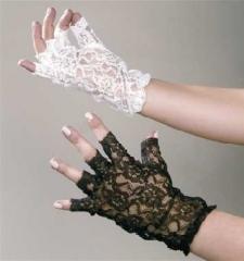 Spitzenhandschuhe fingerlos Hochzeit Rokoko Barock weiß oder schwarz