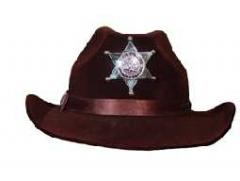 Cowboyhut mit Stern braun Karneval Fasching Kostüm