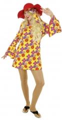 Hippie 70er Jahre Flippy Kleid mit Schlapphut Karneval