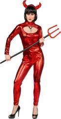 Teufel sexy Teufelkostüm Catsuit Devil Suit (Overall mit Kapuze) 34-40
