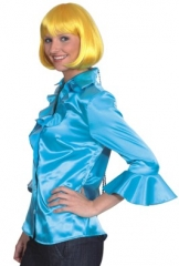 Satin Rüschenbluse Damenbluse Disco Party Faschingsbluse Karneval