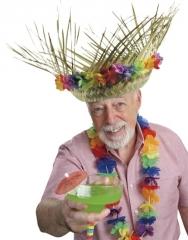 Strohhut Hawaiï mit Blumenrand Karneval Fasching Party