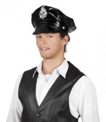 Polizeimütze schwarz Lack Polizeikappe Cop amerikanische Polizei