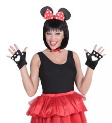 Maus Mickey Mäuse-Set Mäuse Mausohren Halsband Handschuhe