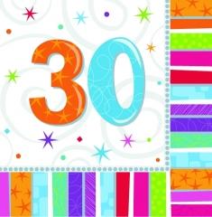 Tischdeko Servietten 16 Stück Radiant 30. Geburtstag