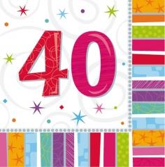 Tischdeko Servietten 16 Stück Radiant 40. Geburtstag