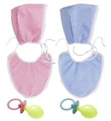 Baby-Set Kostüm mit Haube Latz und Schnuller Nuckel Verkleidung Erwachsene