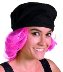 Barett schwarz mit Haar pink Baskenmütze Ernesco