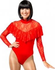 Body Tanzanzug Gymnastikanzug Bodysuit Spitzenbody Volant rot L/XL