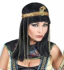 Cleopatra Nofretete Ägypterin Perücke mit Perlenstirnband