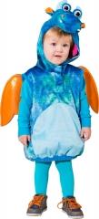 Drache Weste blau orange mit Kopf Flügel Plüschkopf Kinderkostüm