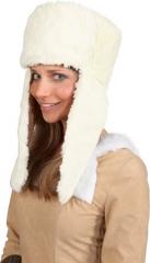 Fellmütze Plüschmütze Lapplandmütze Wintermütze creme oder schwarz