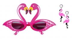 Flamingo Set Ohrringe pink mit Sonnen-Brille Hawaii Südsee Verkleidung Zubehör