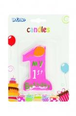 Geburtstagskerze 1 Jahr erster Geburtstag Zahlenkerze