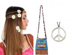 Hippie Set - Stirnband Tasche Peacezeichen Flower Power 70er Jahre
