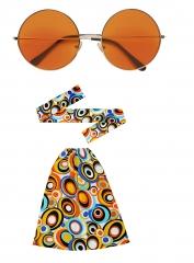 Hippie Set Stirnband Stulpen und große Brille 60er 70er Jahre Schlag 2