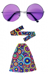 Hippie Set Stirnband Stulpen und große Brille 60er 70er Jahre Schlag 3