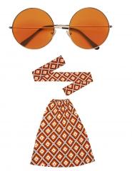 Hippie Set Stirnband Stulpen und große Brille 60er 70er Jahre Schlag 4
