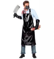 Horror Schlachter Metzger Fleischer Halloween Schlachterschürze Hackebeil