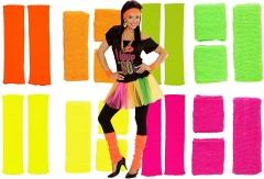 Karneval-Fasching-Shop 80er Neon Schweißband Stirnband Stulpen Set 4 Farben