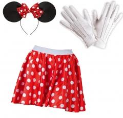 Komplett Set Minnie Maus Größen 34-36 38-40 42-44 Haarreif Rock Handschuhe