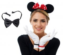 Minni Maus Set 6teilig Haarreif Handschuhe Fliege Armband Minnie Mouse