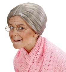 Oma-Perücke mit Dutt + Brille für Kinder Großmutter Grandma Lehrerin