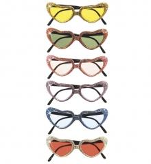 Partybrille Herzbrille Herzchenbrille Glitter Love & Peace Mottoparty