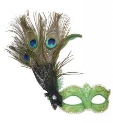 Pfau Pfauenmaske Augenmaske grün Paradiesvogel