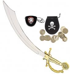 Pirat Seeräuber Piraten-Set Augenklappe Gold-Münzen und Schwert Säbel