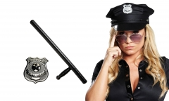 Polizei Set 3 teilig Polizeimütze mit Polizei-Schlagstock und Polizeiabzeichen