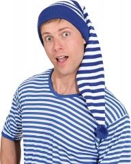 Ringelshirt mit Ringelmütze 2 teiliges Set Schlafmütze blau oder rot gestreift blau M