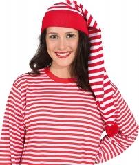 Ringelshirt mit Ringelmütze 2 teiliges Set Schlafmütze blau oder rot gestreift rot XL