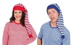 Ringelshirt mit Ringelmütze 2 teiliges Set Schlafmütze blau oder rot gestreift