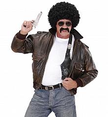 Lockenperücke Afro Look mit Schnäutzer und Brille 60er 70er Lude Macho