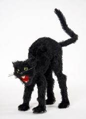 Schwarze buckelige Katze Halloween Hexe Hexenzubehör Katzenschreck