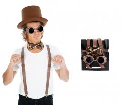Set 4 teilig Steampunk Zylinder Hut Brille Hosenträger und Fliege Sparset