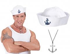 Set Anker Kette Schmuck Matrosenmütze Shanty Matrose Seemann Seefahrer Maritim