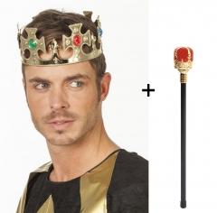 Set Krone König Königszepter und Königskrone Edelstein Imitat Kaiser Kostüm