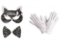 Set Maske Katze und Handschuhe Raubkatze Katzenmaske Wildkatze Kätzchen Mieze
