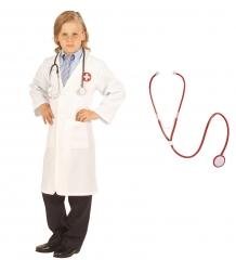 Set Stethoskop funktion mit Arztkittel Kinderkostüm Doktor Krankenhaus Arzt weiß
