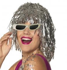 Space Spacewoman Galaxia Folienperücke mit silber Brille Roboter