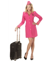 Stewardess Flugbegleiterin Hostessenkostüm pink in vielen Größen