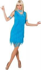 Tanzkleid türkis Fransen gepunktet Frauen Kleid Karneval Kostüm